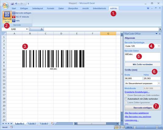 barcode add in f r microsoft excel strichcodes in excel erstellen. Black Bedroom Furniture Sets. Home Design Ideas