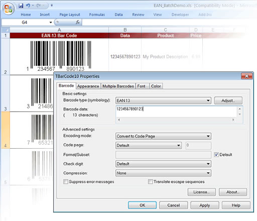 Barcode Generator ActiveX/OCX TBarCode Screen shot