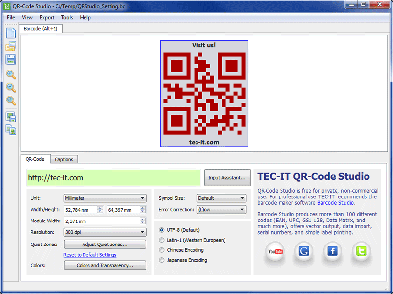 QR-Code Maker Freeware full screenshot