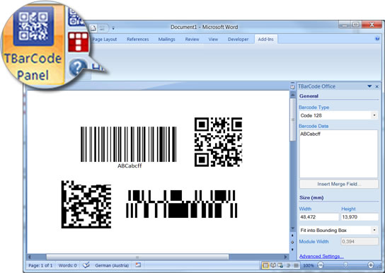 Barcode Word, Barcode, Barcodes, Bar Code, Barcode Add-In, Bar Code Add-In, Word Add-In, Microsoft Office, Microsoft Word, Word 2007, Word 2010, TBarCode Office, Linear Barcodes, 2D Barcodes, GS1 DataBar, DataMatrix, Data Matrix, Bar Code Creation