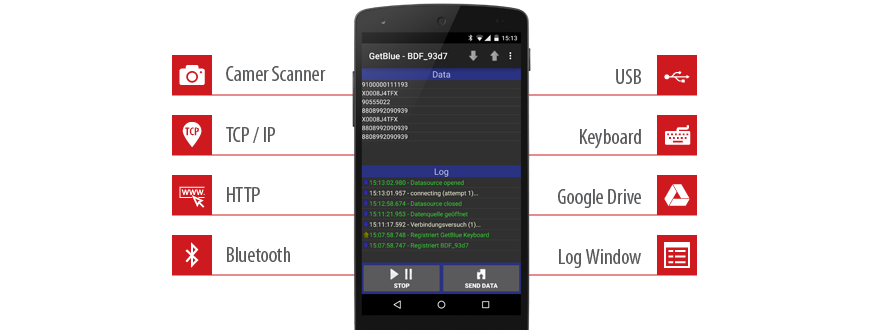 GetBlue for Android: Data Acquisition via Bluetooth SPP, TCP