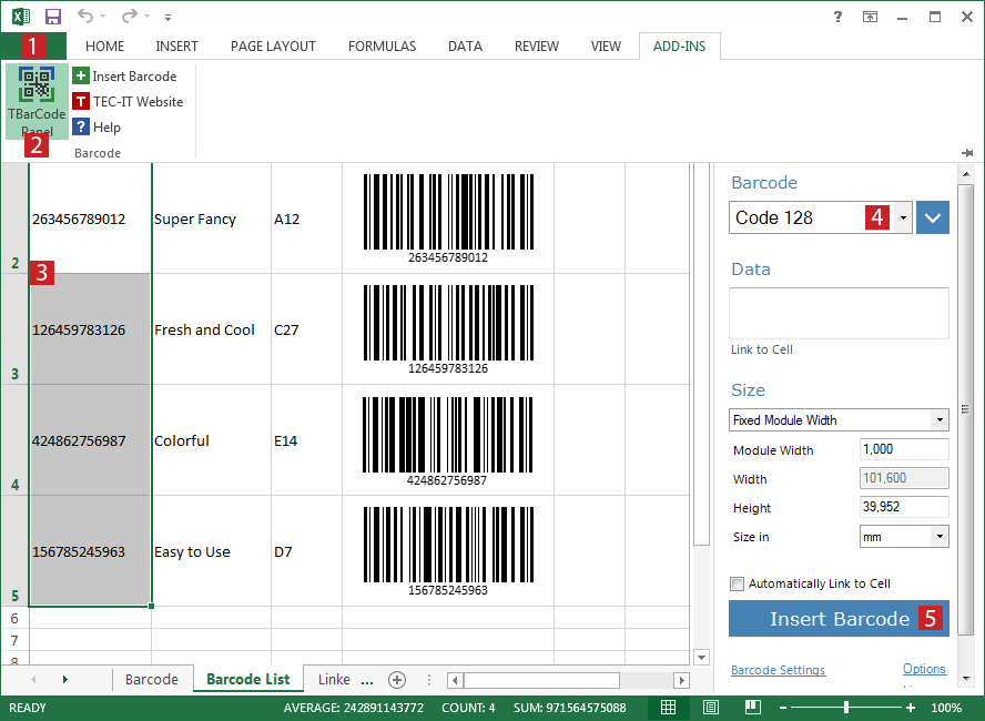 Barcode Excel Add-In TBarCode Office: Create Barcodes in Excel