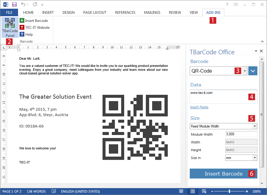 Barcode Add-In for Microsoft Word - Creating Barcodes with Word