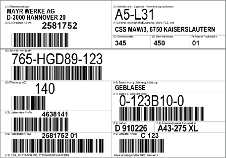 barcode label software for aiag vda 4902 transport label printing