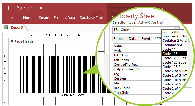 TBarCode SDK: Barcode Software for Microsoft Access Reports