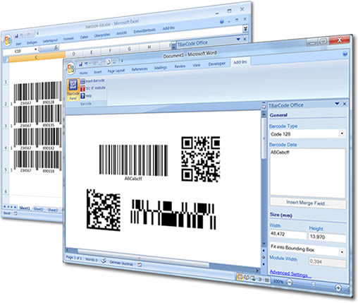 Barcode Word/Excel Add-In TBarCode Office full screenshot