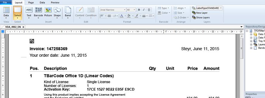 TFORMer Report Designer: Design and Print Reports, Barcode